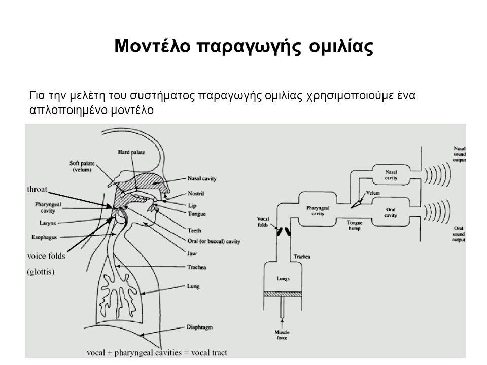 Μοντέλο παραγωγής ομιλίας Για την μελέτη του συστήματος παραγωγής ομιλίας χρησιμοποιούμε ένα απλοποιημένο μοντέλο