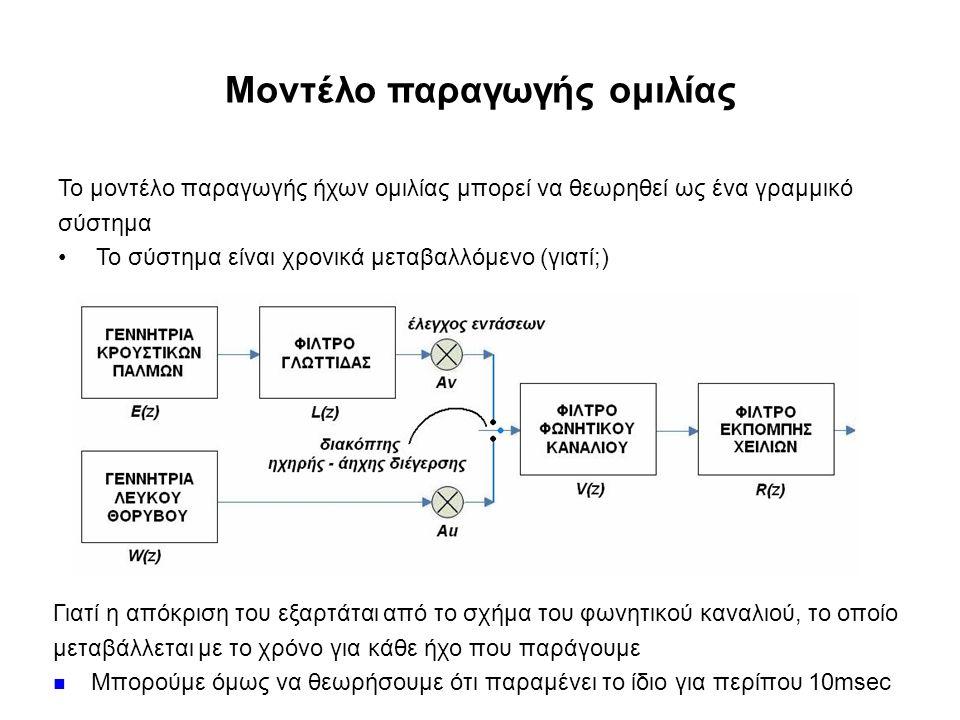 Μοντέλο παραγωγής ομιλίας Το μοντέλο παραγωγής ήχων ομιλίας μπορεί να θεωρηθεί ως ένα γραμμικό σύστημα Το σύστημα είναι χρονικά μεταβαλλόμενο (γιατί;) Γιατί η απόκριση του εξαρτάται από το σχήμα του φωνητικού καναλιού, το οποίο μεταβάλλεται με το χρόνο για κάθε ήχο που παράγουμε Μπορούμε όμως να θεωρήσουμε ότι παραμένει το ίδιο για περίπου 10msec