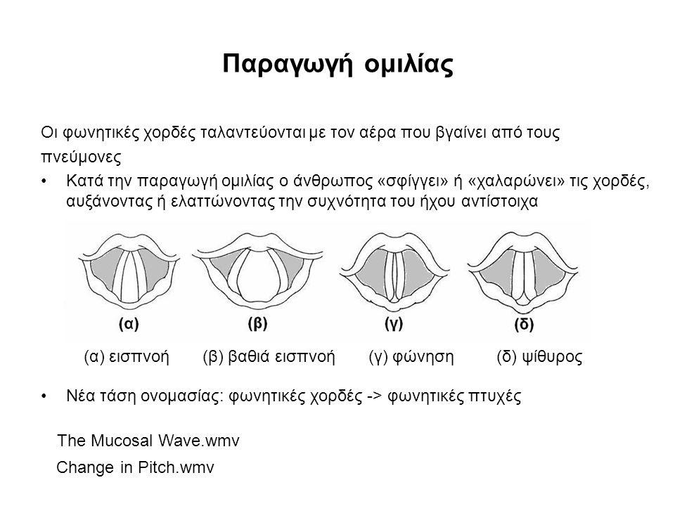 Φωνήματα Φώνημα (phoneme) είναι μία στοιχειώδης ποσότητα, η οποία αναπαριστά μία ομάδα ήχων που είναι φωνητικά, όχι όμως και λειτουργικά, διαφορετικοί –Η νεοελληνική γλώσσα παρουσιάζει τριάντα φωνήματα, στα οποία περιλαμβάνονται πέντε φωνήεντα, δεκαοχτώ σύμφωνα και επτά αλλόφωνα κάποιων συγκεκριμένων φωνημάτων Τα φωνήματα φωνηέντων της ελληνικής γλώσσας είναι τα /a/, /ο/, /ε/, /u/, /i/ και μπορεί να είναι τονισμένα ή μη  Η παραγωγή των φωνηέντων χαρακτηρίζεται από ηχηρή διέγερση του φωνητικού καναλιού, με αποτέλεσμα η ακουστική ενέργεια να είναι περιοδική και όχι θορυβώδους μορφής.