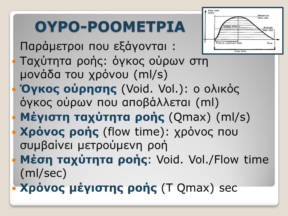 ΟΥΡΟ-ΡΟΟΜΕΤΡΙΑ Παράμετροι που εξάγονται : Ταχύτητα ροής: όγκος ούρων στη μονάδα του χρόνου (ml/s) Όγκος ούρησης (Void.