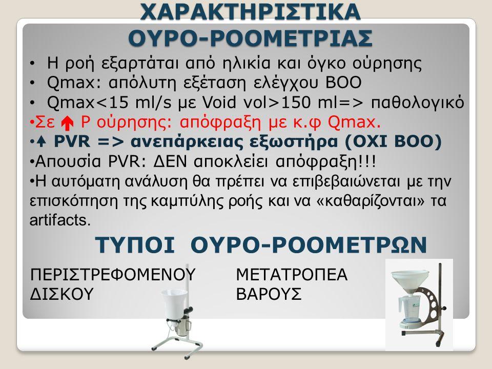 ΧΑΡΑΚΤΗΡΙΣΤΙΚΑ ΟΥΡΟ-ΡΟΟΜΕΤΡΙΑΣ Η ροή εξαρτάται από ηλικία και όγκο ούρησης Qmax: απόλυτη εξέταση ελέγχου BOO Qmax 150 ml=> παθολογικό Σε  P ούρησης: απόφραξη με κ.φ Qmax.