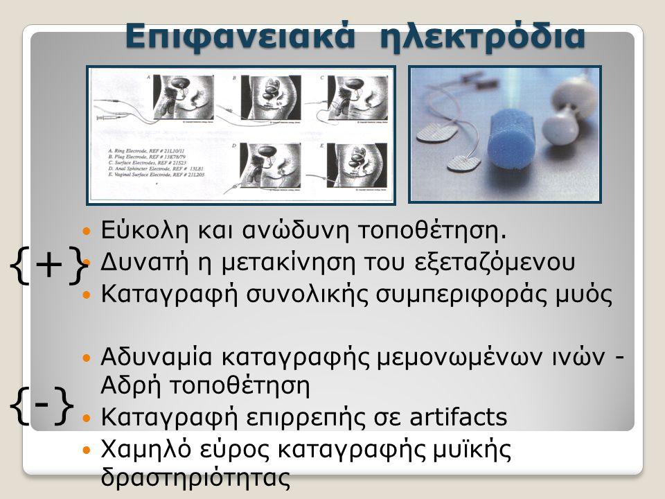 Επιφανειακά ηλεκτρόδια Εύκολη και ανώδυνη τοποθέτηση.