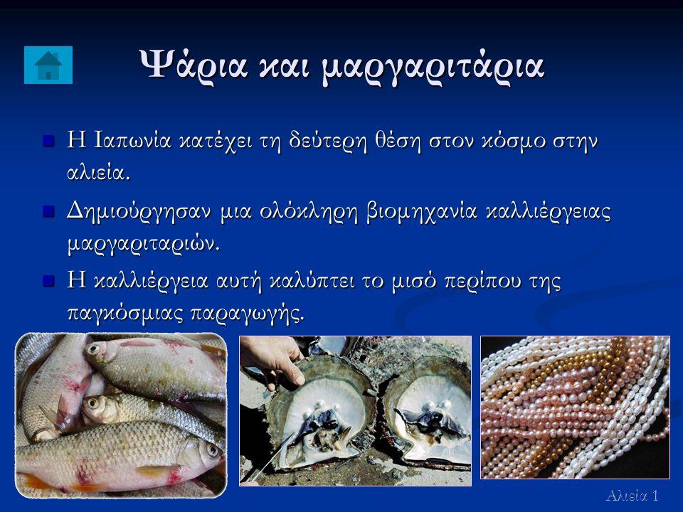 Ψάρια και μαργαριτάρια Η Ιαπωνία κατέχει τη δεύτερη θέση στον κόσμο στην αλιεία.