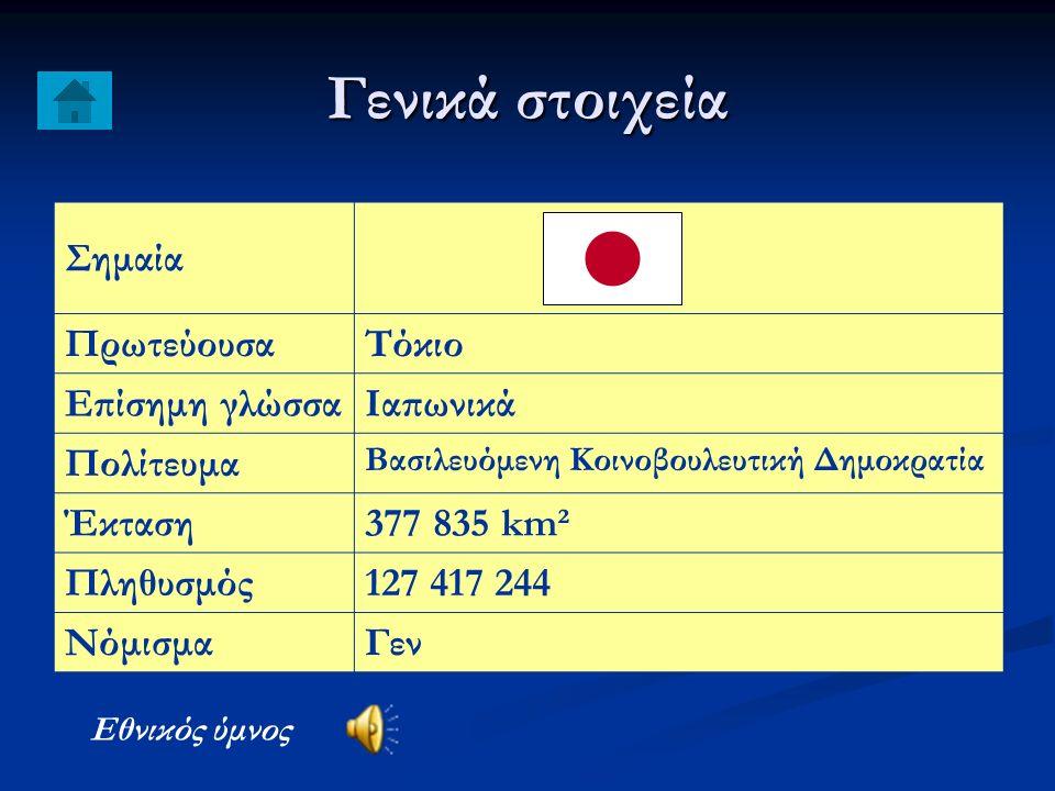Γενικά στοιχεία Σημαία Πρωτεύουσα Τόκιο Επίσημη γλώσσα Ιαπωνικά Πολίτευμα Βασιλευόμενη Κοινοβουλευτική Δημοκρατία Έκταση 377 835 km² Πληθυσμός 127 417 244 Νόμισμα Γεν Εθνικός ύμνος