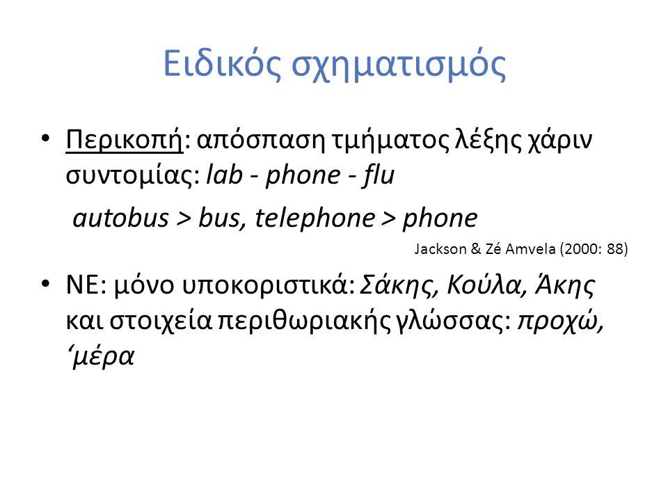 Ειδικός σχηματισμός Περικοπή: απόσπαση τμήματος λέξης χάριν συντομίας: lab - phone - flu autobus > bus, telephone > phone Jackson & Zé Amvela (2000: 8