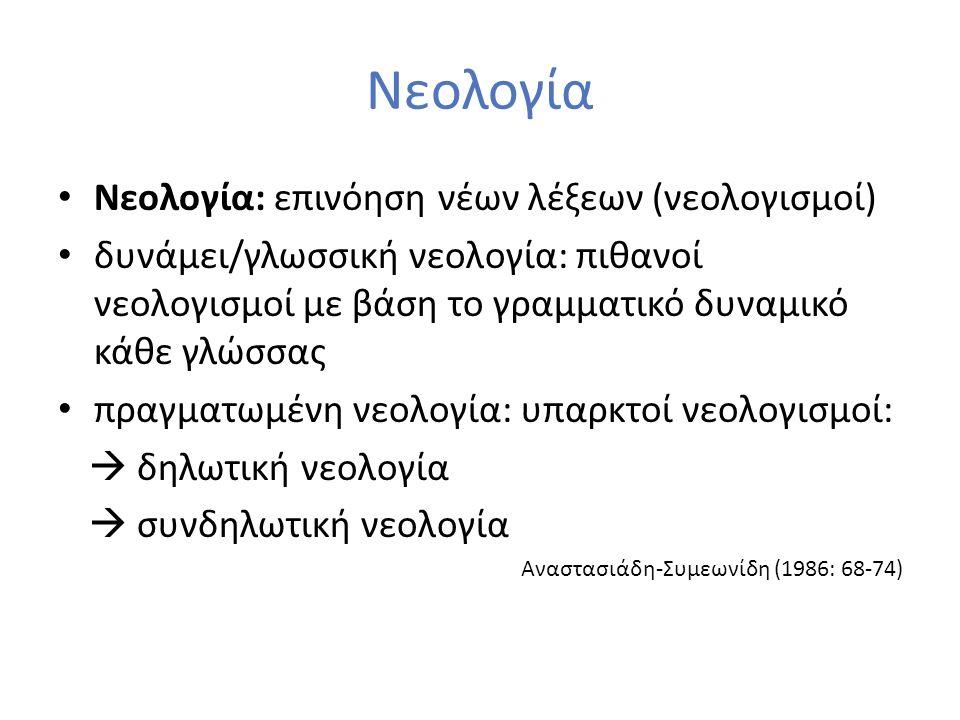 Νεολογία Νεολογία: επινόηση νέων λέξεων (νεολογισμοί) δυνάμει/γλωσσική νεολογία: πιθανοί νεολογισμοί με βάση το γραμματικό δυναμικό κάθε γλώσσας πραγμ