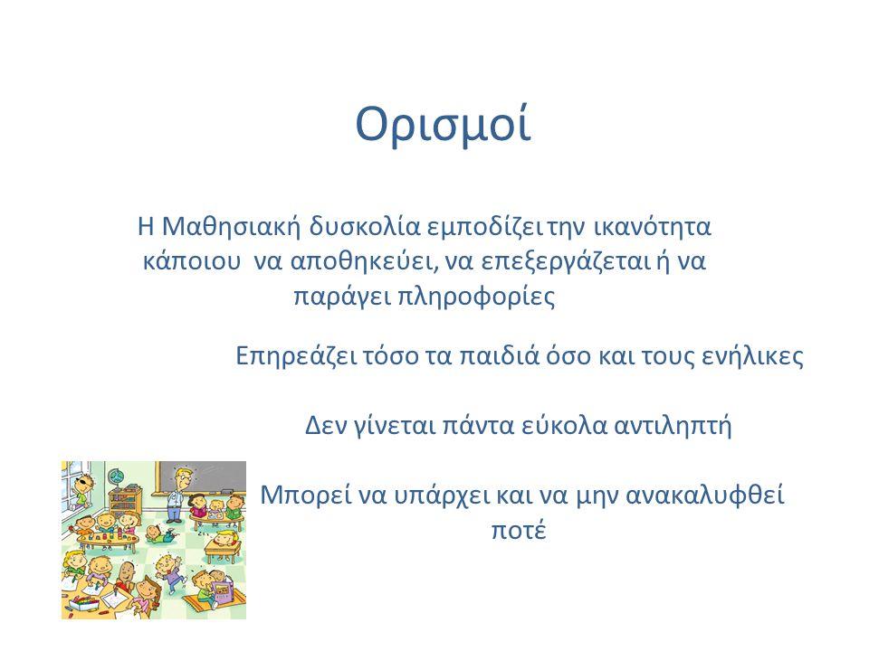 Είδη Μαθησιακών Δυσκολιών (Μ.Δ.) Δυσλεξία Δυσαναγνωσία (αναγνωστικές δυσκολίες) Δυσαριθμία Δυσορθογραφία Δυσγραφία