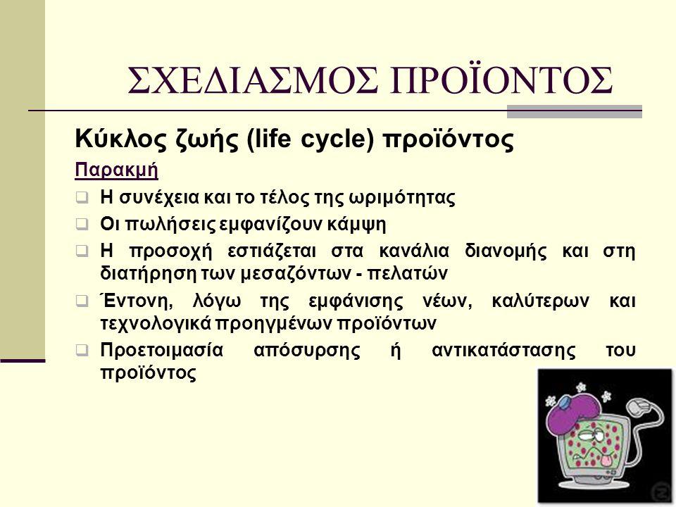Κύκλος ζωής (life cycle) προϊόντος Παρακμή  Η συνέχεια και το τέλος της ωριμότητας  Οι πωλήσεις εμφανίζουν κάμψη  Η προσοχή εστιάζεται στα κανάλια διανομής και στη διατήρηση των μεσαζόντων - πελατών  Έντονη, λόγω της εμφάνισης νέων, καλύτερων και τεχνολογικά προηγμένων προϊόντων  Προετοιμασία απόσυρσης ή αντικατάστασης του προϊόντος ΣΧΕΔΙΑΣΜΟΣ ΠΡΟΪΟΝΤΟΣ