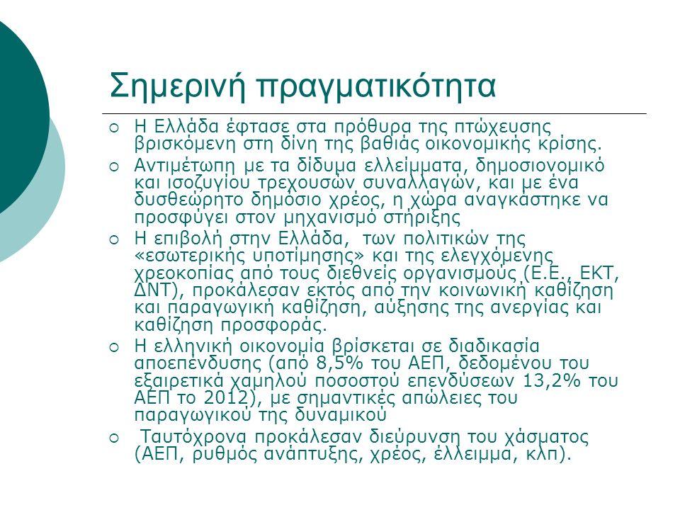 Σημερινή πραγματικότητα  Η Ελλάδα έφτασε στα πρόθυρα της πτώχευσης βρισκόμενη στη δίνη της βαθιάς οικονομικής κρίσης.