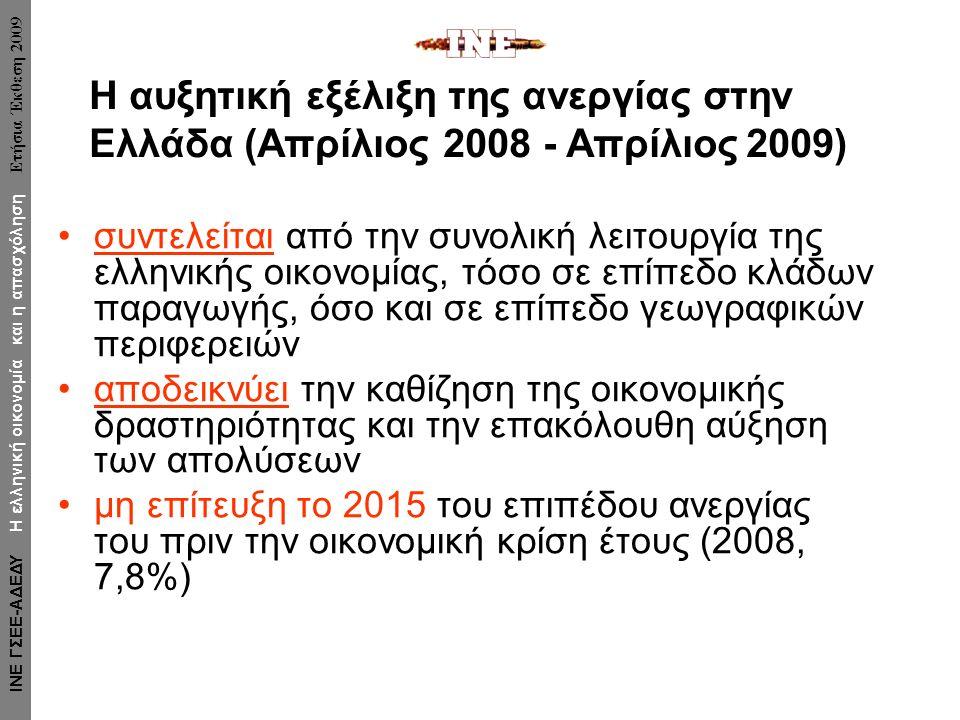 συντελείται από την συνολική λειτουργία της ελληνικής οικονομίας, τόσο σε επίπεδο κλάδων παραγωγής, όσο και σε επίπεδο γεωγραφικών περιφερειών αποδεικνύει την καθίζηση της οικονομικής δραστηριότητας και την επακόλουθη αύξηση των απολύσεων μη επίτευξη το 2015 του επιπέδου ανεργίας του πριν την οικονομική κρίση έτους (2008, 7,8%) Η αυξητική εξέλιξη της ανεργίας στην Ελλάδα (Απρίλιος 2008 - Απρίλιος 2009) ΙΝΕ ΓΣΕΕ-ΑΔΕΔΥ Η ελληνική οικονομία και η απασχόληση Ετήσια Έκθεση 2009
