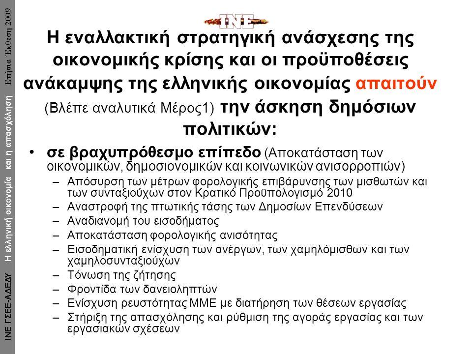 Η εναλλακτική στρατηγική ανάσχεσης της οικονομικής κρίσης και οι προϋποθέσεις ανάκαμψης της ελληνικής οικονομίας απαιτούν (Βλέπε αναλυτικά Μέρος1) την άσκηση δημόσιων πολιτικών: σε βραχυπρόθεσμο επίπεδο (Αποκατάσταση των οικονομικών, δημοσιονομικών και κοινωνικών ανισορροπιών) –Απόσυρση των μέτρων φορολογικής επιβάρυνσης των μισθωτών και των συνταξιούχων στον Κρατικό Προϋπολογισμό 2010 –Αναστροφή της πτωτικής τάσης των Δημοσίων Επενδύσεων –Αναδιανομή του εισοδήματος –Αποκατάσταση φορολογικής ανισότητας –Εισοδηματική ενίσχυση των ανέργων, των χαμηλόμισθων και των χαμηλοσυνταξιούχων –Τόνωση της ζήτησης –Φροντίδα των δανειοληπτών –Ενίσχυση ρευστότητας ΜΜΕ με διατήρηση των θέσεων εργασίας –Στήριξη της απασχόλησης και ρύθμιση της αγοράς εργασίας και των εργασιακών σχέσεων ΙΝΕ ΓΣΕΕ-ΑΔΕΔΥ Η ελληνική οικονομία και η απασχόληση Ετήσια Έκθεση 2009