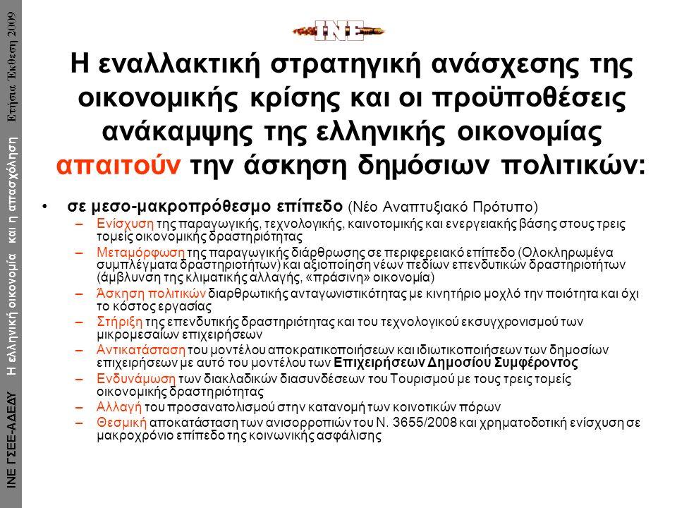 Η εναλλακτική στρατηγική ανάσχεσης της οικονομικής κρίσης και οι προϋποθέσεις ανάκαμψης της ελληνικής οικονομίας απαιτούν την άσκηση δημόσιων πολιτικών: σε μεσο-μακροπρόθεσμο επίπεδο (Νέο Αναπτυξιακό Πρότυπο) –Ενίσχυση της παραγωγικής, τεχνολογικής, καινοτομικής και ενεργειακής βάσης στους τρεις τομείς οικονομικής δραστηριότητας –Μεταμόρφωση της παραγωγικής διάρθρωσης σε περιφερειακό επίπεδο (Ολοκληρωμένα συμπλέγματα δραστηριοτήτων) και αξιοποίηση νέων πεδίων επενδυτικών δραστηριοτήτων (άμβλυνση της κλιματικής αλλαγής, «πράσινη» οικονομία) –Άσκηση πολιτικών διαρθρωτικής ανταγωνιστικότητας με κινητήριο μοχλό την ποιότητα και όχι το κόστος εργασίας –Στήριξη της επενδυτικής δραστηριότητας και του τεχνολογικού εκσυγχρονισμού των μικρομεσαίων επιχειρήσεων –Αντικατάσταση του μοντέλου αποκρατικοποιήσεων και ιδιωτικοποιήσεων των δημοσίων επιχειρήσεων με αυτό του μοντέλου των Επιχειρήσεων Δημοσίου Συμφέροντος –Ενδυνάμωση των διακλαδικών διασυνδέσεων του Τουρισμού με τους τρεις τομείς οικονομικής δραστηριότητας –Αλλαγή του προσανατολισμού στην κατανομή των κοινοτικών πόρων –Θεσμική αποκατάσταση των ανισορροπιών του Ν.