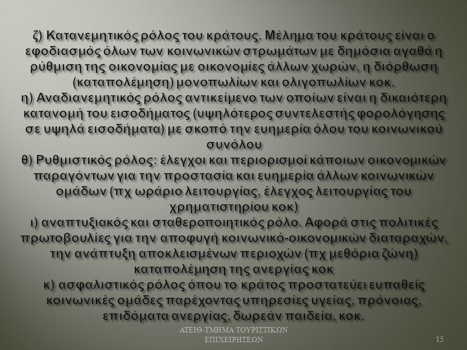 ΑΤΕΙΘ - ΤΜΗΜΑ ΤΟΥΡΙΣΤΙΚΩΝ ΕΠΙΧΕΙΡΗΣΕΩΝ 15