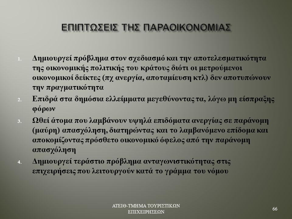 ΕΠΙΠΤΩΣΕΙΣ ΤΗΣ ΠΑΡΑΟΙΚΟΝΟΜΙΑΣ 1.