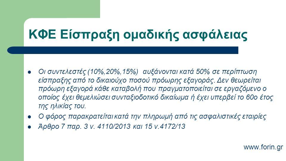 ΚΦΕ Είσπραξη ομαδικής ασφάλειας Οι συντελεστές (10%,20%,15%) αυξάνονται κατά 50% σε περίπτωση είσπραξης από το δικαιούχο ποσού πρόωρης εξαγοράς.