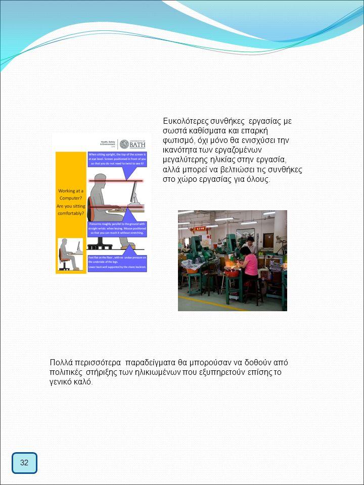 32 Ευκολότερες συνθήκες εργασίας με σωστά καθίσματα και επαρκή φωτισμό, όχι μόνο θα ενισχύσει την ικανότητα των εργαζομένων μεγαλύτερης ηλικίας στην ε