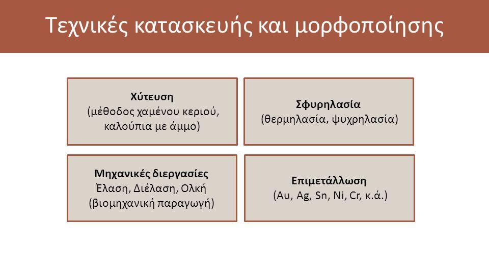 Τεχνικές κατασκευής και μορφοποίησης Χύτευση (μέθοδος χαμένου κεριού, καλούπια με άμμο) Σφυρηλασία (θερμηλασία, ψυχρηλασία) Επιμετάλλωση (Au, Ag, Sn, Ni, Cr, κ.ά.) Μηχανικές διεργασίες Έλαση, Διέλαση, Ολκή (βιομηχανική παραγωγή)