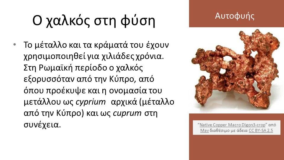 Ο χαλκός στη φύση Το μέταλλο και τα κράματά του έχουν χρησιμοποιηθεί για χιλιάδες χρόνια. Στη Ρωμαϊκή περίοδο ο χαλκός εξορυσσόταν από την Κύπρο, από