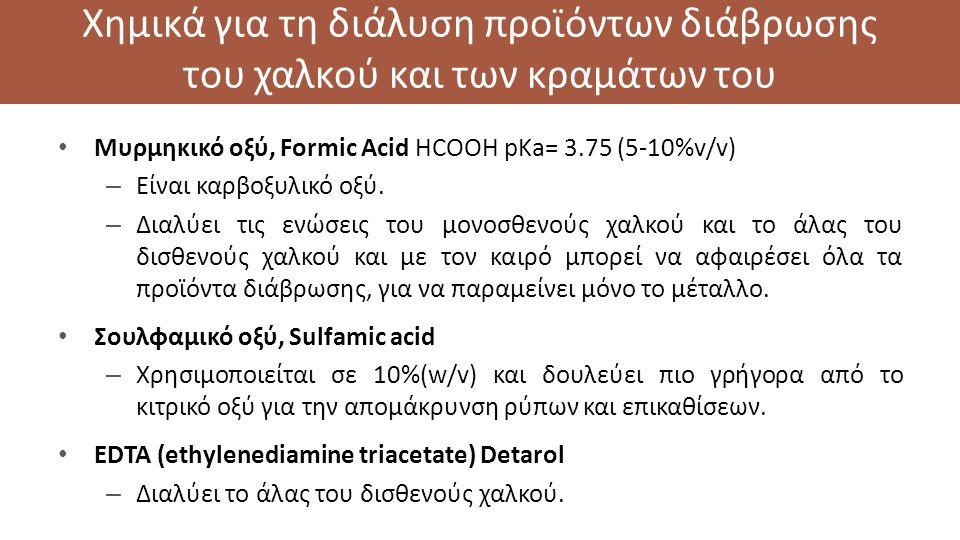 Χημικά για τη διάλυση προϊόντων διάβρωσης του χαλκού και των κραμάτων του Μυρμηκικό οξύ, Formic Acid HCOOH pKa= 3.75 (5-10%v/v) – Είναι καρβοξυλικό οξύ.