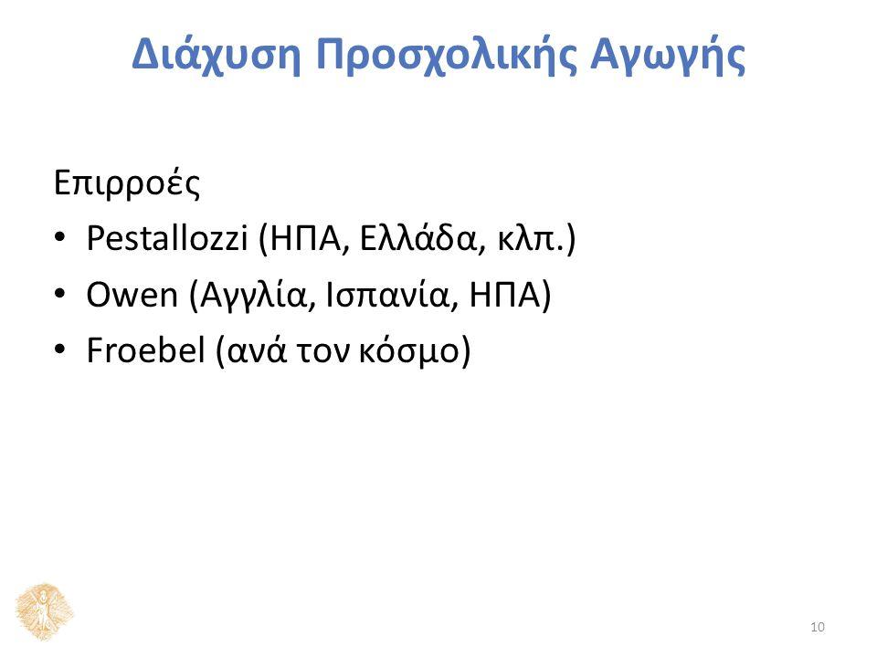 Διάχυση Προσχολικής Αγωγής Επιρροές Pestallozzi (ΗΠΑ, Ελλάδα, κλπ.) Owen (Αγγλία, Ισπανία, ΗΠΑ) Froebel (ανά τον κόσμο) 10