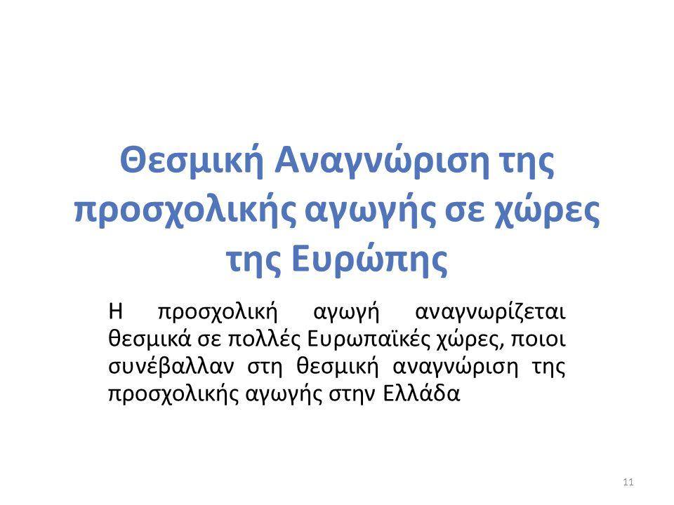 Θεσμική Αναγνώριση της προσχολικής αγωγής σε χώρες της Ευρώπης Η προσχολική αγωγή αναγνωρίζεται θεσμικά σε πολλές Ευρωπαϊκές χώρες, ποιοι συνέβαλλαν στη θεσμική αναγνώριση της προσχολικής αγωγής στην Ελλάδα 11