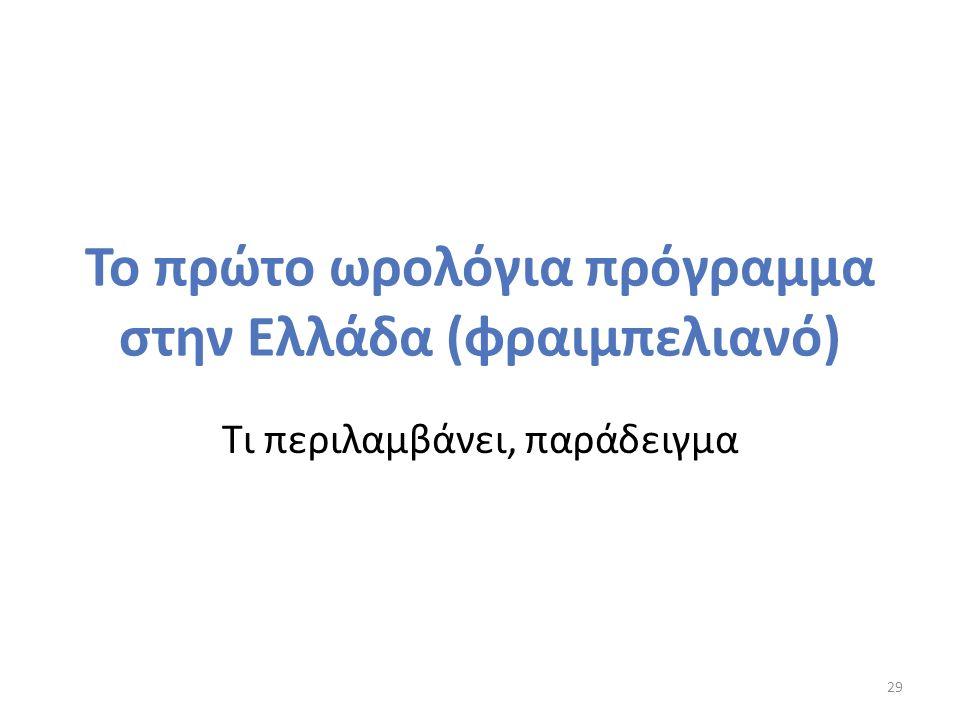 Το πρώτο ωρολόγια πρόγραμμα στην Ελλάδα (φραιμπελιανό) Τι περιλαμβάνει, παράδειγμα 29