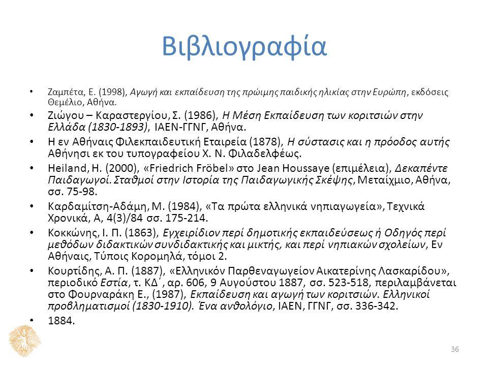 Βιβλιογραφία Ζαμπέτα, Ε. (1998), Αγωγή και εκπαίδευση της πρώιμης παιδικής ηλικίας στην Ευρώπη, εκδόσεις Θεμέλιο, Αθήνα. Ζιώγου – Καραστεργίου, Σ. (19
