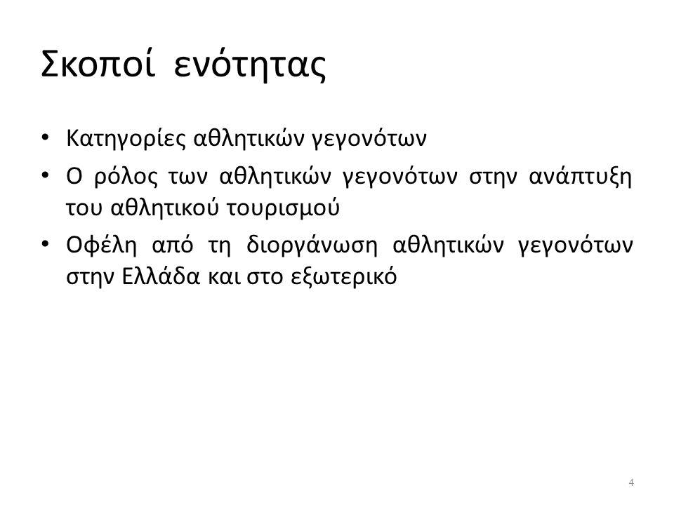 Σκοποί ενότητας Κατηγορίες αθλητικών γεγονότων Ο ρόλος των αθλητικών γεγονότων στην ανάπτυξη του αθλητικού τουρισμού Οφέλη από τη διοργάνωση αθλητικών γεγονότων στην Ελλάδα και στο εξωτερικό 4