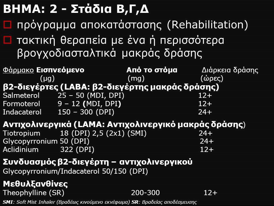 ΒΗΜΑ: 2 - Στάδια Β,Γ,Δ  πρόγραμμα αποκατάστασης (Rehabilitation)  τακτική θεραπεία με ένα ή περισσότερα βρογχοδιασταλτικά μακράς δράσης Φάρμακο Εισπνεόμενο Από το στόμα Διάρκεια δράσης (μg) (mg) (ώρες) β2-διεγέρτες (LABA: β2-διεγέρτης μακράς δράσης) Salmeterol 25 – 50 (MDI, DPI) 12+ Formoterol 9 – 12 (MDI, DPI) 12+ Indacaterol 150 – 300 (DPI) 24+ Αντιχολινεργικά (LAMA: Αντιχολινεργικό μακράς δράσης Αντιχολινεργικά (LAMA: Αντιχολινεργικό μακράς δράσης ) Tiotropium 18 (DPI) 2,5 (2x1) (SMI) 24+ Glycopyrronium 50 (DPI) 24+ Aclidinium 322 (DPI) 12+ Συνδυασμός β2-διεγέρτη – αντιχολινεργικού Glycopyrronium/Indacaterol 50/150 (DPI)Μεθυλξανθίνες Theophylline (SR) 200-300 12+ SMI: Soft Mist Inhaler (Bραδέως κινούμενο εκνέφωμα) SR: Βραδείας αποδέσμευσης