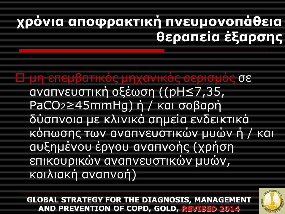 χρόνια αποφρακτική πνευμονοπάθεια θεραπεία έξαρσης GLOBAL STRATEGY FOR THE DIAGNOSIS, MANAGEMENT AND PREVENTION OF COPD, GOLD, REVISED 2014  μη επεμβατικός μηχανικός αερισμός σε αναπνευστική οξέωση ((pH≤7,35, PaCO 2 ≥45mmHg) ή / και σοβαρή δύσπνοια με κλινικά σημεία ενδεικτικά κόπωσης των αναπνευστικών μυών ή / και αυξημένου έργου αναπνοής (χρήση επικουρικών αναπνευστικών μυών, κοιλιακή αναπνοή)