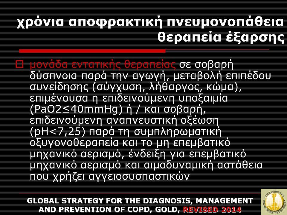 χρόνια αποφρακτική πνευμονοπάθεια θεραπεία έξαρσης GLOBAL STRATEGY FOR THE DIAGNOSIS, MANAGEMENT AND PREVENTION OF COPD, GOLD, REVISED 2014  μονάδα ε