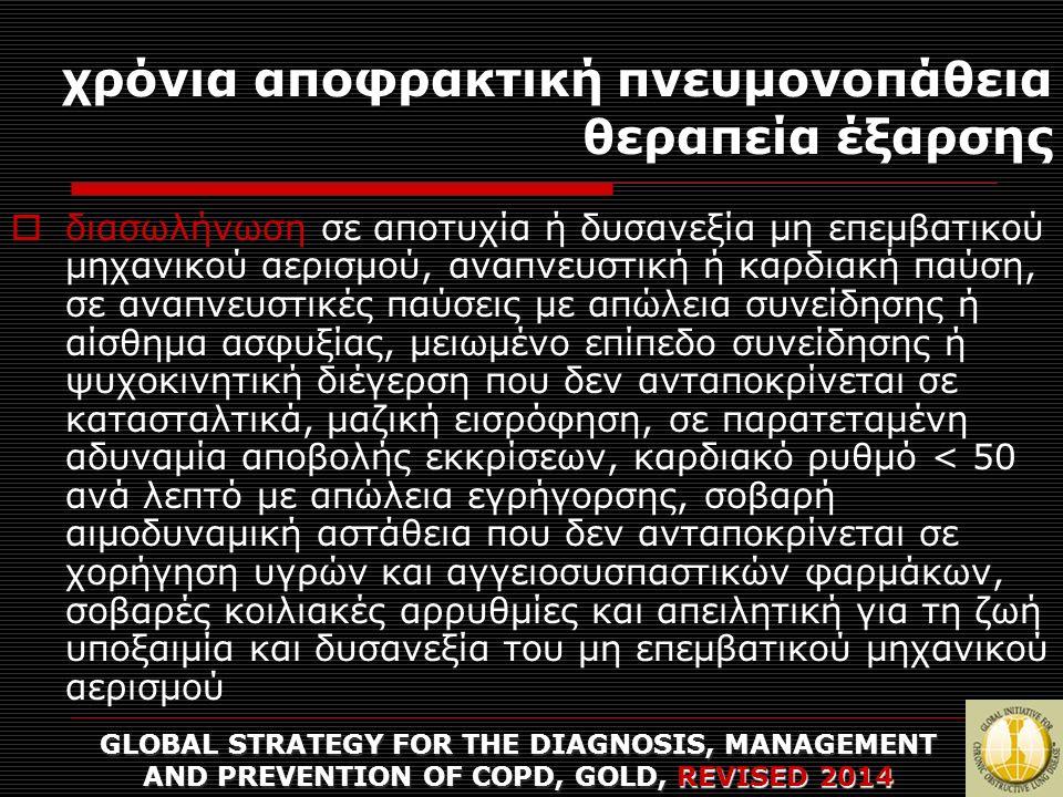 χρόνια αποφρακτική πνευμονοπάθεια θεραπεία έξαρσης GLOBAL STRATEGY FOR THE DIAGNOSIS, MANAGEMENT AND PREVENTION OF COPD, GOLD, REVISED 2014  διασωλήν