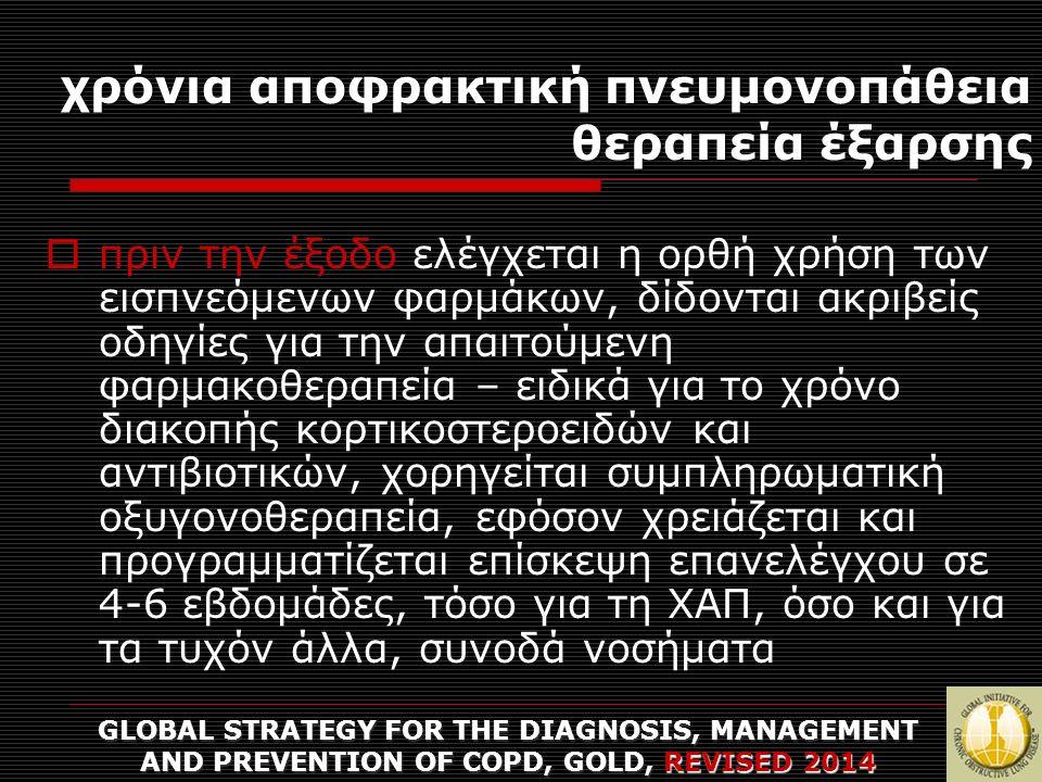 χρόνια αποφρακτική πνευμονοπάθεια θεραπεία έξαρσης GLOBAL STRATEGY FOR THE DIAGNOSIS, MANAGEMENT AND PREVENTION OF COPD, GOLD, REVISED 2014  πριν την έξοδο ελέγχεται η ορθή χρήση των εισπνεόμενων φαρμάκων, δίδονται ακριβείς οδηγίες για την απαιτούμενη φαρμακοθεραπεία – ειδικά για το χρόνο διακοπής κορτικοστεροειδών και αντιβιοτικών, χορηγείται συμπληρωματική οξυγονοθεραπεία, εφόσον χρειάζεται και προγραμματίζεται επίσκεψη επανελέγχου σε 4-6 εβδομάδες, τόσο για τη ΧΑΠ, όσο και για τα τυχόν άλλα, συνοδά νοσήματα