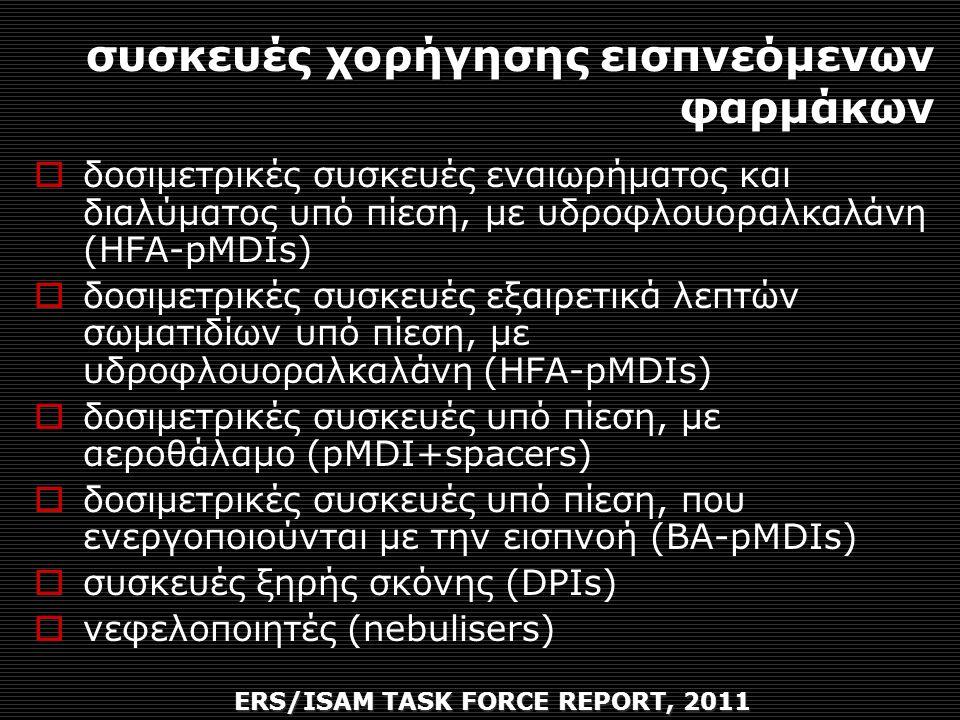συσκευές χορήγησης εισπνεόμενων φαρμάκων ERS/ISAM TASK FORCE REPORT, 2011  δοσιμετρικές συσκευές εναιωρήματος και διαλύματος υπό πίεση, με υδροφλουοραλκαλάνη (HFA-pMDIs)  δοσιμετρικές συσκευές εξαιρετικά λεπτών σωματιδίων υπό πίεση, με υδροφλουοραλκαλάνη (HFA-pMDIs)  δοσιμετρικές συσκευές υπό πίεση, με αεροθάλαμο (pMDI+spacers)  δοσιμετρικές συσκευές υπό πίεση, που ενεργοποιούνται με την εισπνοή (BA-pMDIs)  συσκευές ξηρής σκόνης (DPIs)  νεφελοποιητές (nebulisers)