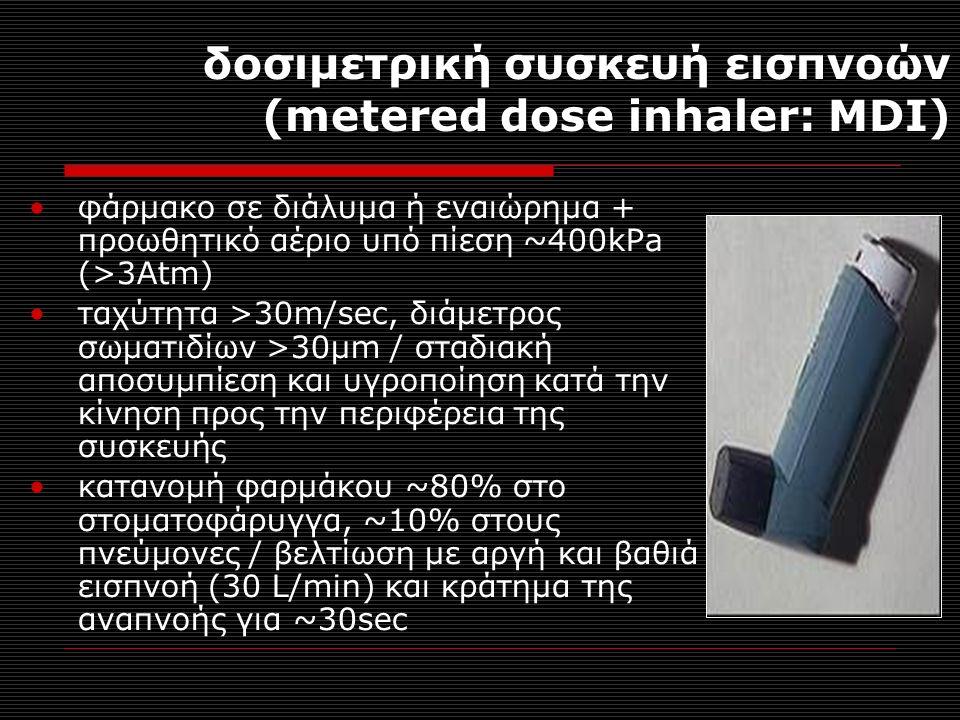δοσιμετρική συσκευή εισπνοών (metered dose inhaler: MDI) φάρμακο σε διάλυμα ή εναιώρημα + προωθητικό αέριο υπό πίεση ~400kPa (>3Atm) ταχύτητα >30m/sec, διάμετρος σωματιδίων >30μm / σταδιακή αποσυμπίεση και υγροποίηση κατά την κίνηση προς την περιφέρεια της συσκευής κατανομή φαρμάκου ~80% στο στοματοφάρυγγα, ~10% στους πνεύμονες / βελτίωση με αργή και βαθιά εισπνοή (30 L/min) και κράτημα της αναπνοής για ~30sec
