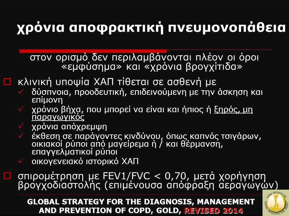 χρόνια αποφρακτική πνευμονοπάθεια διάγνωση, σταδιοποίηση, πρόληψη και θεραπεία της νόσου με στόχο  άμεση ανακούφιση, μείωση συμπτωμάτων  αποτροπή μη αναστρέψιμων βλαβών  εξατομίκευση της θεραπείας με βάση τις προσωπικές ανάγκες GLOBAL STRATEGY FOR THE DIAGNOSIS, MANAGEMENT AND PREVENTION OF COPD, GOLD, REVISED 2014