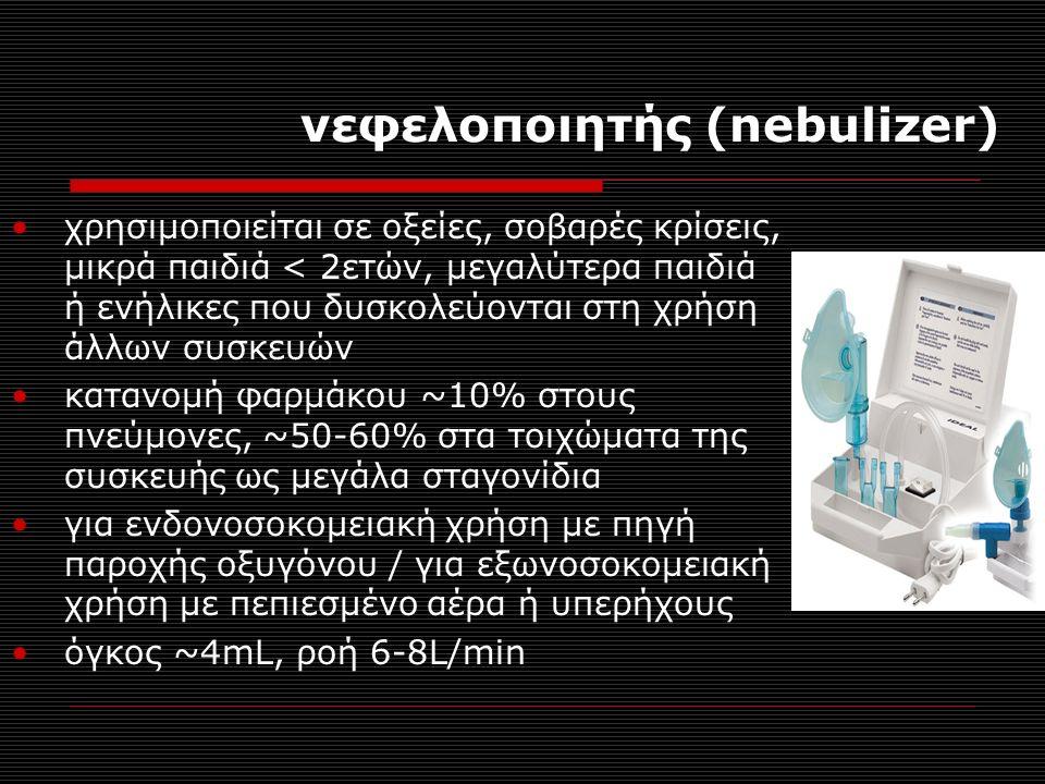 νεφελοποιητής (nebulizer) χρησιμοποιείται σε οξείες, σοβαρές κρίσεις, μικρά παιδιά < 2ετών, μεγαλύτερα παιδιά ή ενήλικες που δυσκολεύονται στη χρήση άλλων συσκευών κατανομή φαρμάκου ~10% στους πνεύμονες, ~50-60% στα τοιχώματα της συσκευής ως μεγάλα σταγονίδια για ενδονοσοκομειακή χρήση με πηγή παροχής οξυγόνου / για εξωνοσοκομειακή χρήση με πεπιεσμένο αέρα ή υπερήχους όγκος ~4mL, ροή 6-8L/min