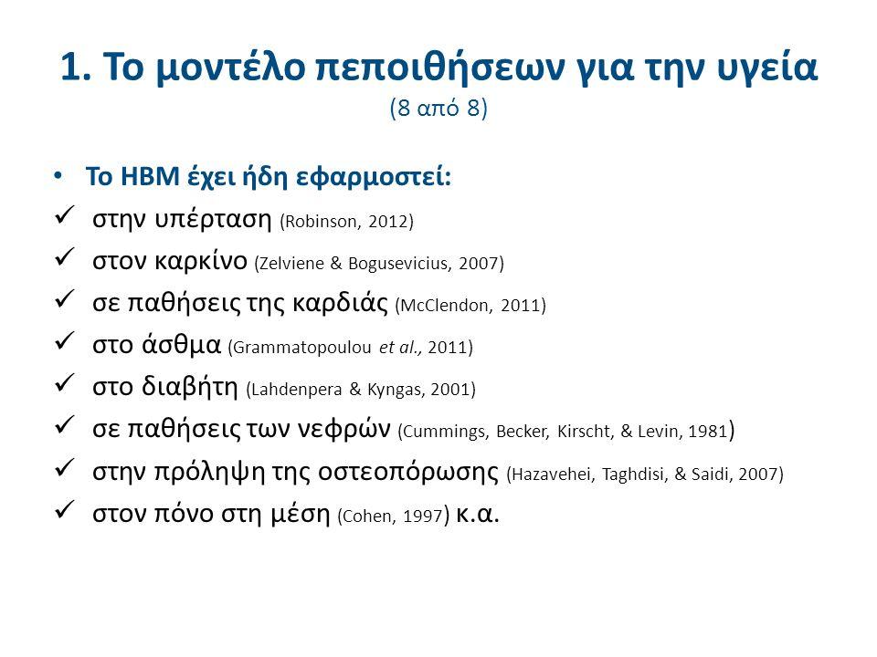 1. Το μοντέλο πεποιθήσεων για την υγεία (8 από 8) Το HBM έχει ήδη εφαρμοστεί: στην υπέρταση (Robinson, 2012) στον καρκίνο (Zelviene & Bogusevicius, 20