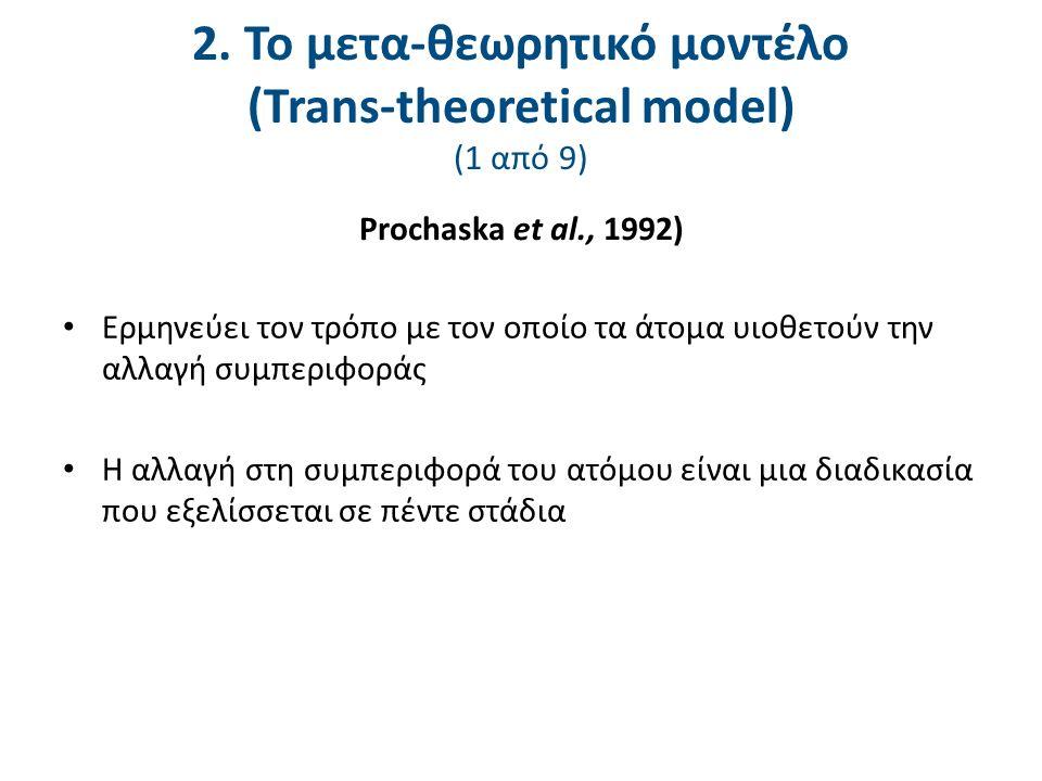 Ερμηνεύει τον τρόπο με τον οποίο τα άτομα υιοθετούν την αλλαγή συμπεριφοράς Η αλλαγή στη συμπεριφορά του ατόμου είναι μια διαδικασία που εξελίσσεται σε πέντε στάδια Prochaska et al., 1992) 2.