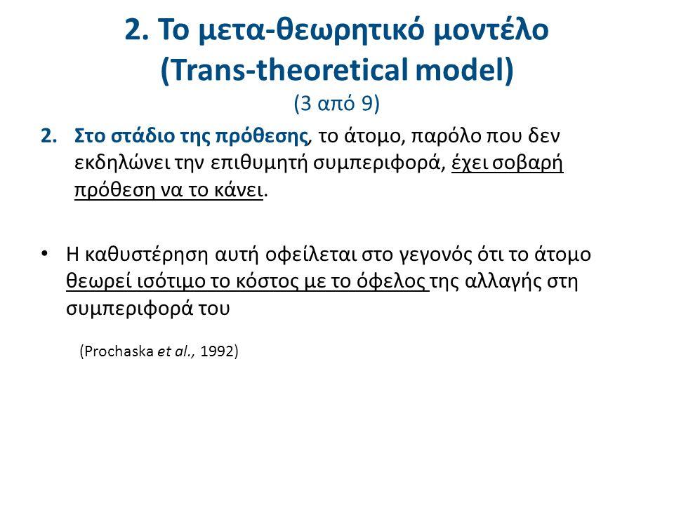 2. Το μετα-θεωρητικό μοντέλο (Trans-theoretical model) (3 από 9) 2.Στο στάδιο της πρόθεσης, το άτομο, παρόλο που δεν εκδηλώνει την επιθυμητή συμπεριφο