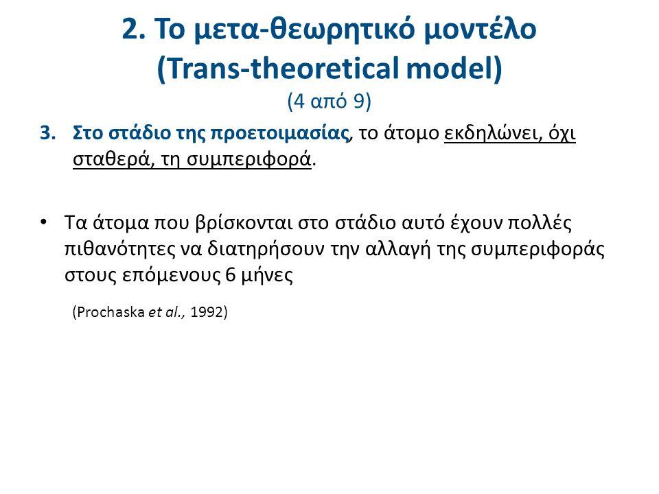 2. Το μετα-θεωρητικό μοντέλο (Trans-theoretical model) (4 από 9) 3.Στο στάδιο της προετοιμασίας, το άτομο εκδηλώνει, όχι σταθερά, τη συμπεριφορά. Τα ά