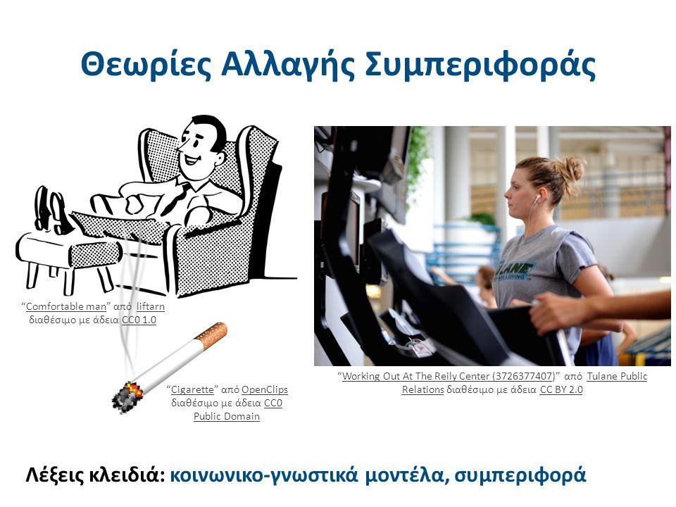 Θεωρίες Αλλαγής Συμπεριφοράς Λέξεις κλειδιά: κοινωνικο-γνωστικά μοντέλα, συμπεριφορά Cigarette από OpenClips διαθέσιμο με άδεια CC0 Public DomainCigaretteOpenClipsCC0 Public Domain Working Out At The Reily Center (3726377407) από Tulane Public Relations διαθέσιμο με άδεια CC BY 2.0Working Out At The Reily Center (3726377407Tulane Public RelationsCC BY 2.0 Comfortable man από liftarn διαθέσιμο με άδεια CC0 1.0Comfortable manliftarnCC0 1.0