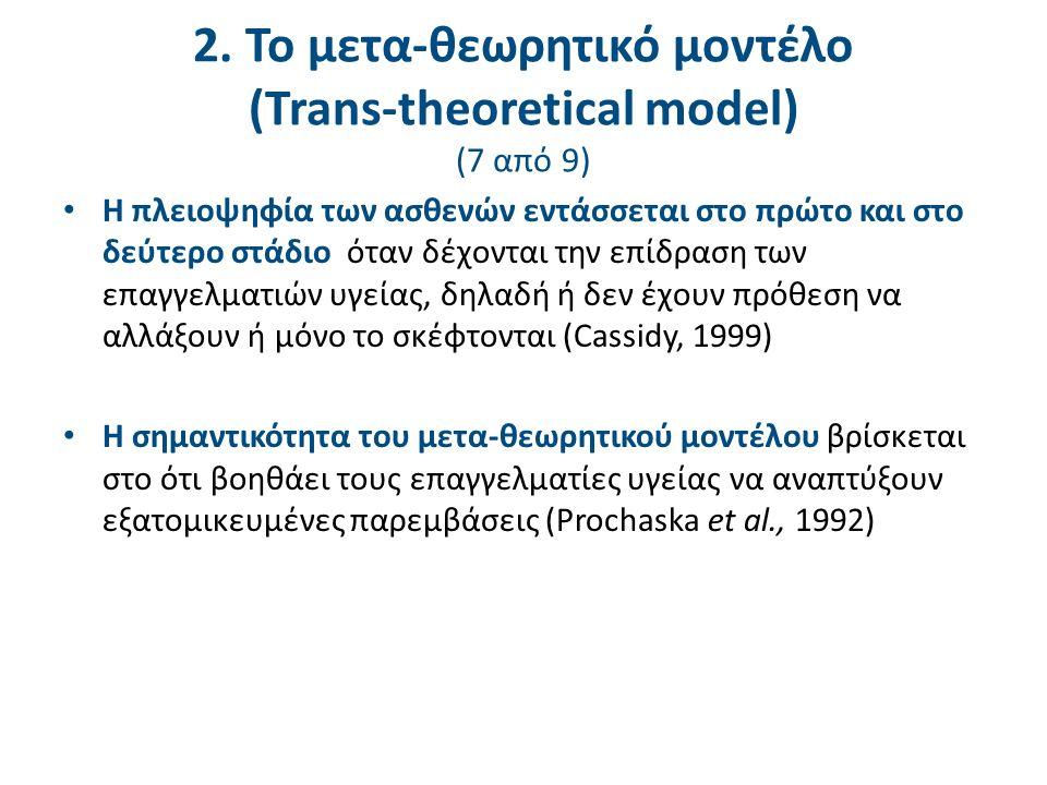 2. Το μετα-θεωρητικό μοντέλο (Trans-theoretical model) (7 από 9) Η πλειοψηφία των ασθενών εντάσσεται στο πρώτο και στο δεύτερο στάδιο όταν δέχονται τη