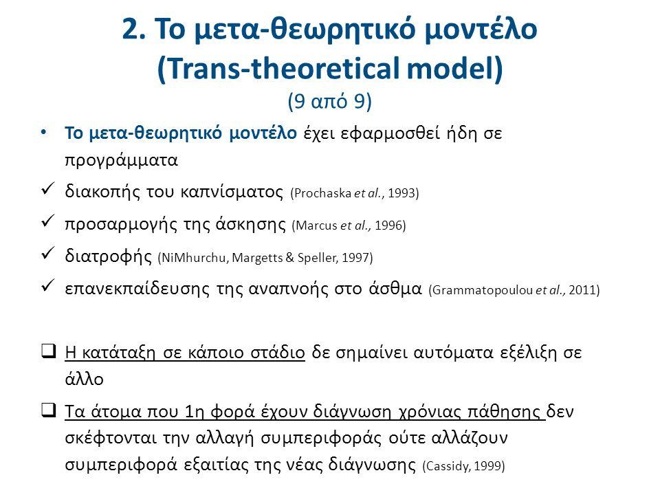 2. Το μετα-θεωρητικό μοντέλο (Trans-theoretical model) (9 από 9) Το μετα-θεωρητικό μοντέλο έχει εφαρμοσθεί ήδη σε προγράμματα διακοπής του καπνίσματος