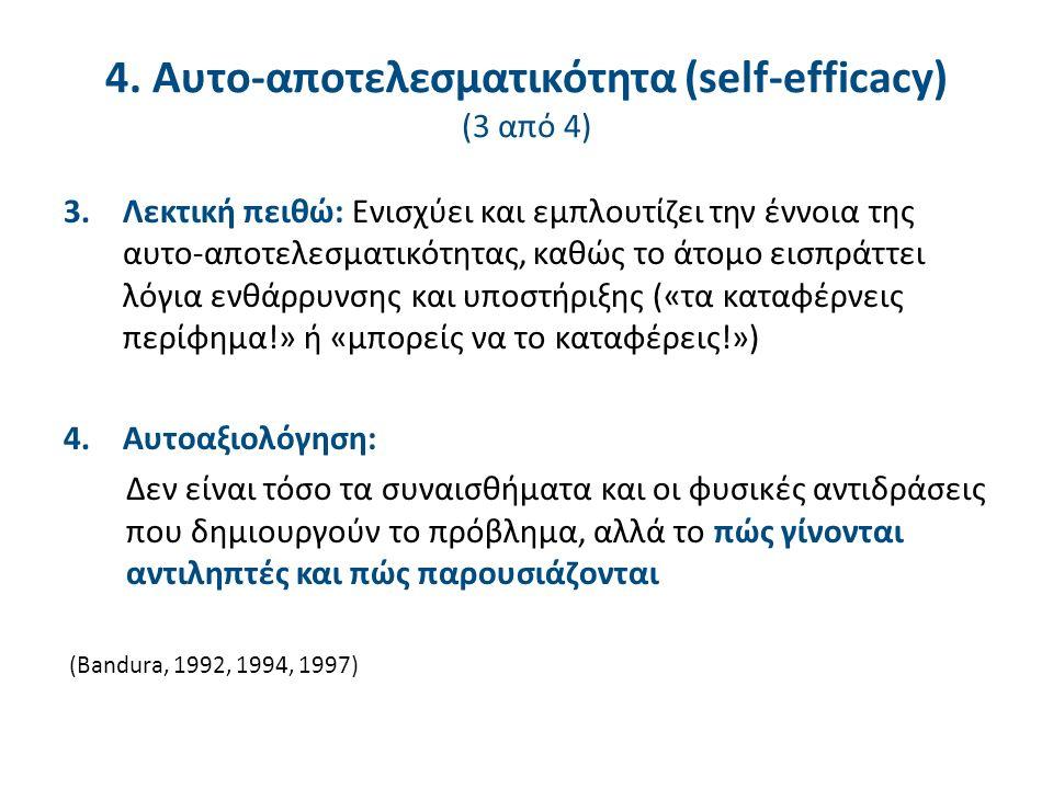4. Αυτο-αποτελεσματικότητα (self-efficacy) (3 από 4) 3.Λεκτική πειθώ: Ενισχύει και εμπλουτίζει την έννοια της αυτο-αποτελεσματικότητας, καθώς το άτομο