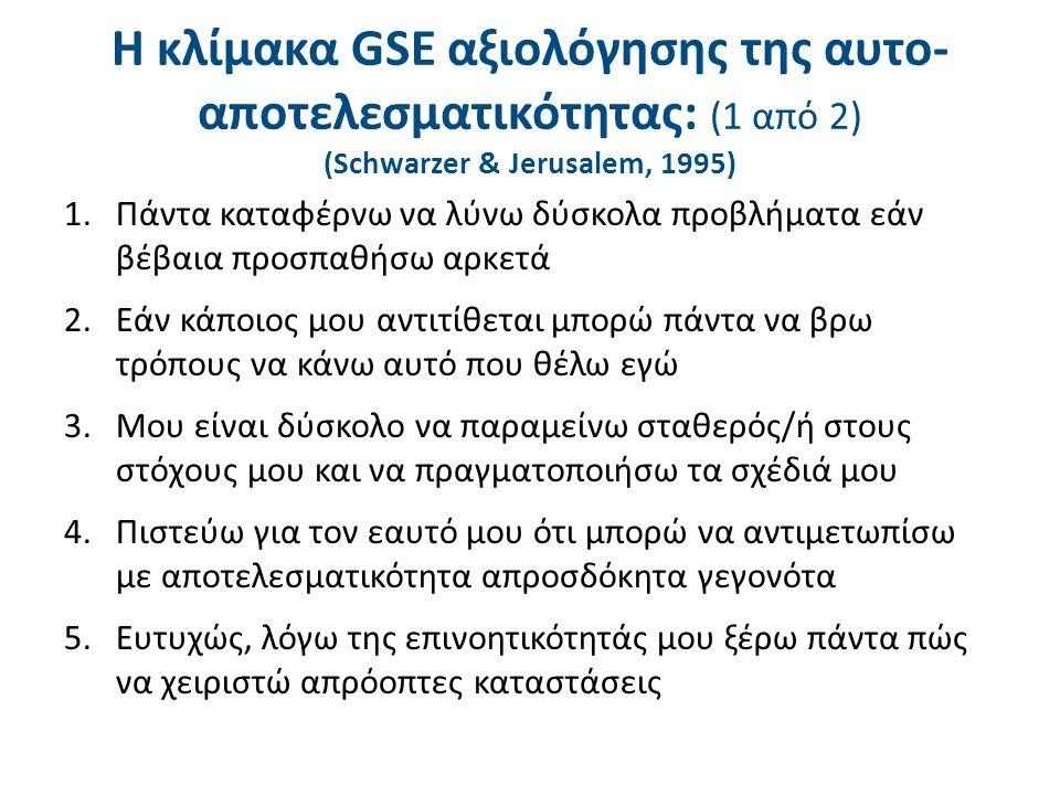H κλίμακα GSE αξιολόγησης της αυτο- αποτελεσματικότητας: (1 από 2) (Schwarzer & Jerusalem, 1995) 1.Πάντα καταφέρνω να λύνω δύσκολα προβλήματα εάν βέβαια προσπαθήσω αρκετά 2.Εάν κάποιος μου αντιτίθεται μπορώ πάντα να βρω τρόπους να κάνω αυτό που θέλω εγώ 3.Μου είναι δύσκολο να παραμείνω σταθερός/ή στους στόχους μου και να πραγματοποιήσω τα σχέδιά μου 4.Πιστεύω για τον εαυτό μου ότι μπορώ να αντιμετωπίσω με αποτελεσματικότητα απροσδόκητα γεγονότα 5.Ευτυχώς, λόγω της επινοητικότητάς μου ξέρω πάντα πώς να χειριστώ απρόοπτες καταστάσεις