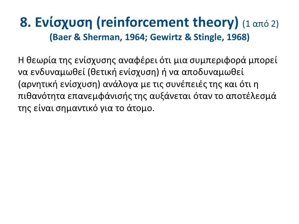8. Ενίσχυση (reinforcement theory) (1 από 2) (Baer & Sherman, 1964; Gewirtz & Stingle, 1968) Η θεωρία της ενίσχυσης αναφέρει ότι μια συμπεριφορά μπορε
