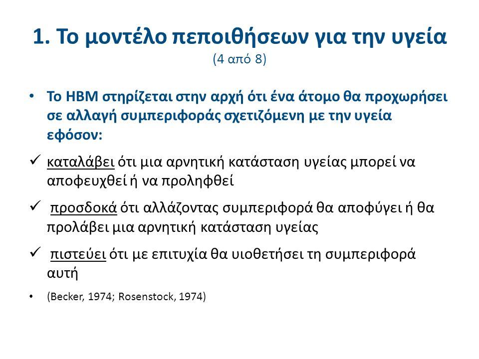 1. Το μοντέλο πεποιθήσεων για την υγεία (4 από 8) Το HBM στηρίζεται στην αρχή ότι ένα άτομο θα προχωρήσει σε αλλαγή συμπεριφοράς σχετιζόμενη με την υγ
