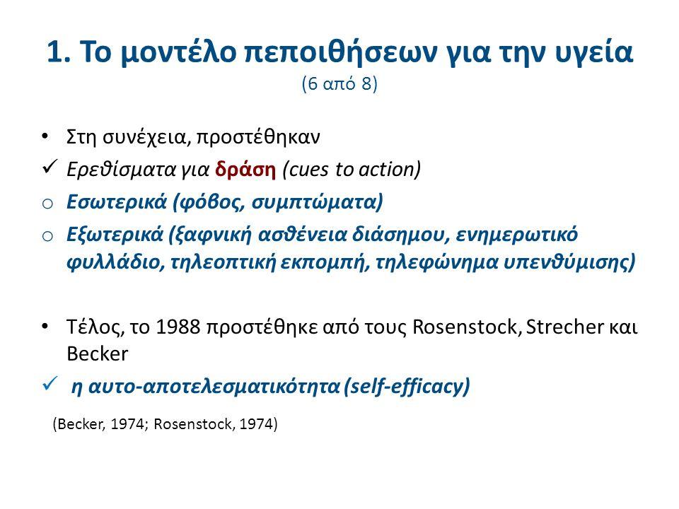 Στη συνέχεια, προστέθηκαν Ερεθίσματα για δράση (cues to action) o Εσωτερικά (φόβος, συμπτώματα) o Εξωτερικά (ξαφνική ασθένεια διάσημου, ενημερωτικό φυλλάδιο, τηλεοπτική εκπομπή, τηλεφώνημα υπενθύμισης) Τέλος, το 1988 προστέθηκε από τους Rosenstock, Strecher και Becker η αυτο-αποτελεσματικότητα (self-efficacy) (Becker, 1974; Rosenstock, 1974) 1.
