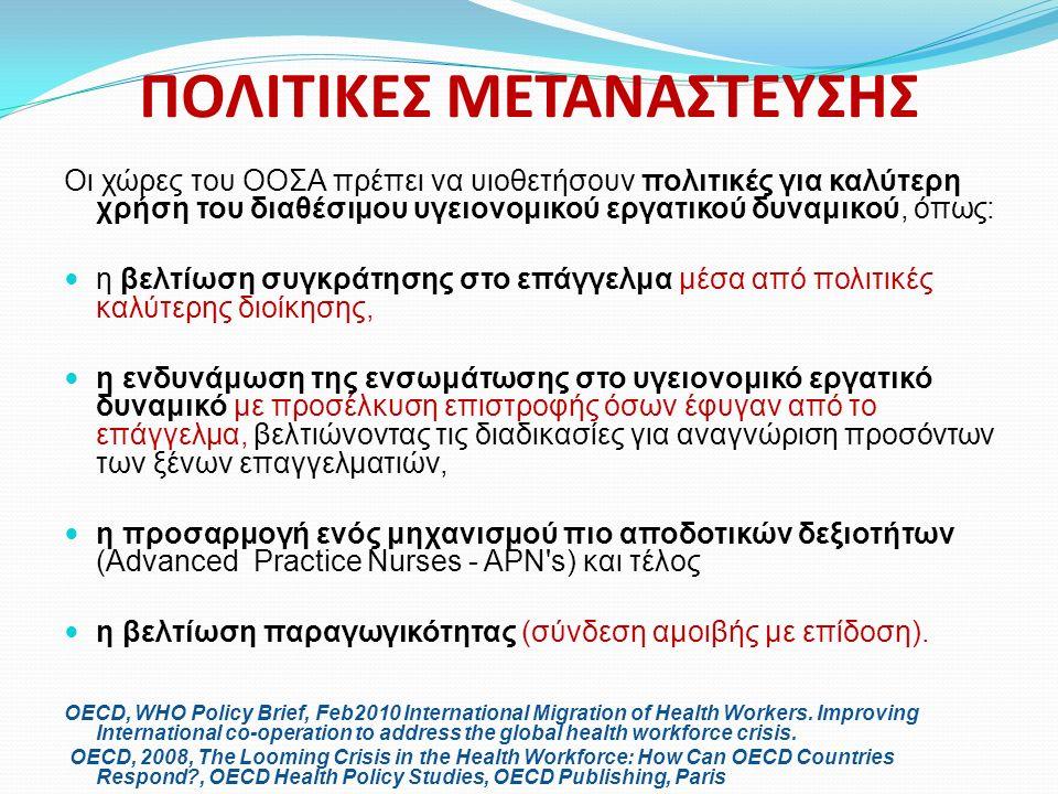ΠΟΛΙΤΙΚΕΣ ΜΕΤΑΝΑΣΤΕΥΣΗΣ Οι χώρες του ΟΟΣΑ πρέπει να υιοθετήσουν πολιτικές για καλύτερη χρήση του διαθέσιμου υγειονομικού εργατικού δυναμικού, όπως: η βελτίωση συγκράτησης στο επάγγελμα μέσα από πολιτικές καλύτερης διοίκησης, η ενδυνάμωση της ενσωμάτωσης στο υγειονομικό εργατικό δυναμικό με προσέλκυση επιστροφής όσων έφυγαν από το επάγγελμα, βελτιώνοντας τις διαδικασίες για αναγνώριση προσόντων των ξένων επαγγελματιών, η προσαρμογή ενός μηχανισμού πιο αποδοτικών δεξιοτήτων (Advanced Practice Nurses - APN s) και τέλος η βελτίωση παραγωγικότητας (σύνδεση αμοιβής με επίδοση).